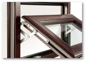 dark wood grain upvc casement window